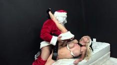 Horny Santa gets a hot blonde bimbo's firm ass as a Christmas present