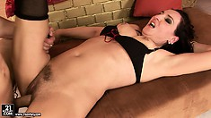 Hairy Liza takes care over that magnificent, throbbing prick