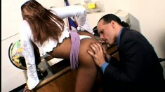 Seductive Caramel Teen Lies On The Desk And The Black Guy Deeply Fucks Her Holes