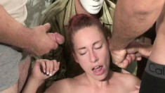 Attractive redhead with lovely boobs gets her face covered with sperm