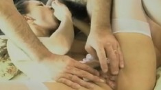 Skinny Asian babe gets her trimmed cunt stuffed by a hairy cock