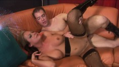 Slutty blonde in black boots Sophia loves to get nailed deep and rough