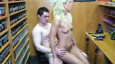 Platinum Haired Blonde Babe Gets Down And Dirty In A Dvd Store