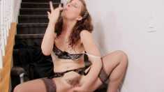 Lovely young Helena R wears sexy lingerie while using hot toys