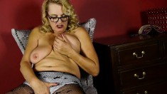 Lustful blonde granny Dalbin finds herself all alone and masturbates