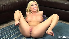 Christie Stevens goes for the gusto with her toy and fingers