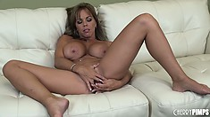 Stacked blonde cougar Amber Lynn Bach fingers her tight pussy on the couch