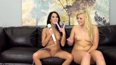 Blonde and brunette beauties Megan and Melissa relishing lesbian sex