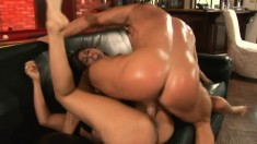 Two attractive young babes share a throbbing cock and big load of cum