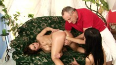 Smoking Hot Babe Gets Her Naked Body Oiled Up And Groped By An Older Dude