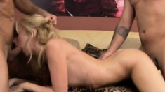 Blonde slut Kelly takes a cock in each end and gets both for a DP