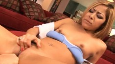 Cute Asian chick with blonde hair gets DP-ed by two horny fuckers