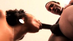 Slim ebony cutie Misty Stone surrenders her honey hole to a black stud
