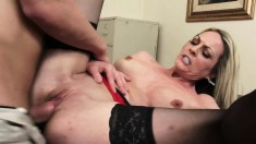 Busty blonde cougar in heat has hot sex with a young guy in the office