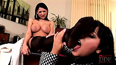Horny lesbian MILFs like playing with each others sexy stockinged feet