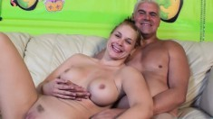 Stacked blonde Sarah Vandella gets her juicy slit tongued and drilled