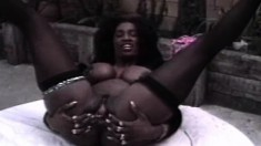 Busty ebony hottie gobbles up multiple dicks and gets hammered