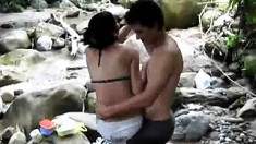 Outdoor Threesome Caught By Voyeur