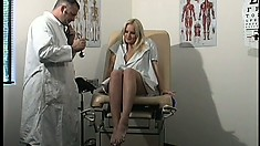 Enjoyable vixen sits on gynecological chair and spreads her legs