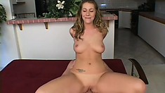 Blonde bitch with nice curves gets shafted in an interracial trio