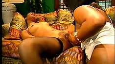 Two ebony babes get together for some hot lesbian lovin' in the afternoon