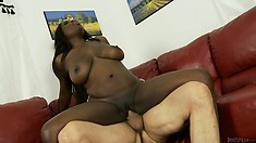 Interracial fucking with a big tit ebony riding on his white shaft
