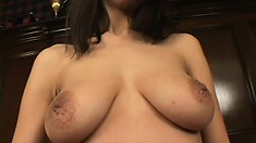 Sultry brunette with big natural tits bends over and enjoys a deep fucking doggy style