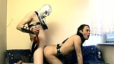 Horny dominant buck gets his ass stretched out by a leathered-up hunk