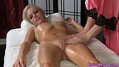 Blonde goes for a massage and gets a nice rub, and some pussy action