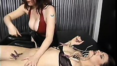 Slutty slave cries out as she gets her nips clamped and her pussy pinned by her mistress