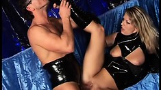 Blonde broad commands her male pet to pleasure her at a club