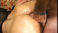 Blindfolded Asian lady takes every inch of that fat cock deep in her anal hole