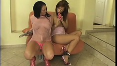 Lustful lesbian lovers drill each other's twats with sex toys and reach their climax