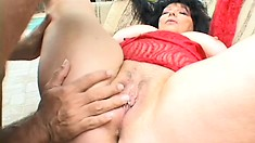 Mature brunette trades head and titty fucks before he drills her twat