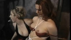 Redhead slave is tied up and gets clothespins attached to her cunt lips