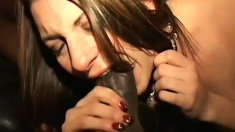 Slutty brunette college babe getting fucked by a black guy at a party