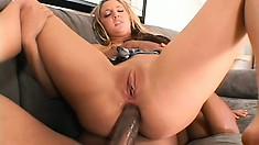 Giant black boner plunders some tight white pussy in a hardcore scene