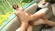 Cute brunette Bobbi Starr, a horny bitch with perky boobs, rides some hard cock outdoors