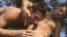 Horny muscular dudes go outdoors and have wild banging over black car