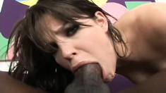 Slut brunette Bobbi Star has a huge black rod punishing her juicy cunt
