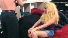 Huge breasted blonde hooker blows a big dick and then gets nailed hard