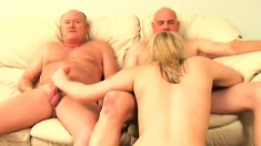 These two old guys both need fucked and she is ready for them both