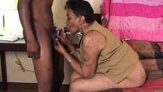 Black granny gets hold of some young meat and blows before getting hammered