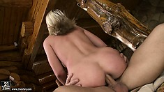 She has him pounding her ass all over the chair and finishes him off with her lips