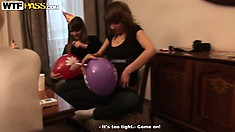 Filthy College Chicks Have A Blast Drinking At The Party And Playing With Balloons