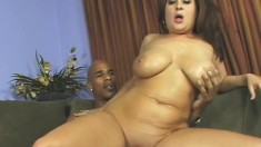 Delicious chubby babe with huge tits gets fucked until she squeals