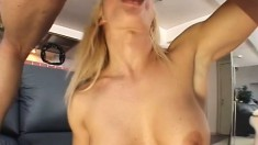 European beauty has fun with a dildo before a hard dick bangs her holes