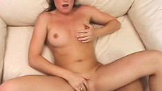 Lovely amateur brunette blows and fucks a huge black cock on the couch POV style