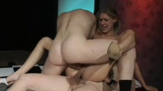 Petite blonde has two hung guys roughly fucking her juicy holes at once