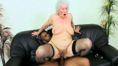 Platinum haired hoochie gets slammed balls deep by a black cock